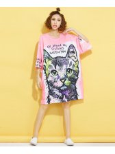 Plus Size O Neck Cat Pattern Dress
