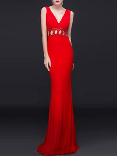 Backless Hollow Out V Neck Sexy Evening Dress