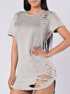Frayed Design Pullover Mini Tee Dress