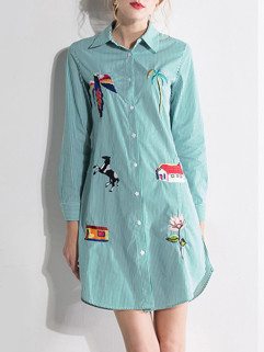 New Long Sleeve Embroidery Shirt Boutique Dresses