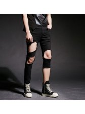 Korean Design Worn Out Zipper Black Pants