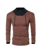 Contrast Color Pullover Long Sleeve T-shirt