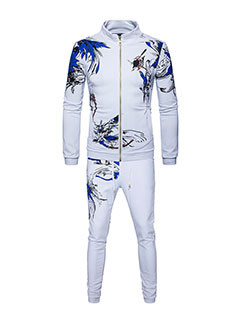 Print Floral Stand Collar Zipper Hoodie With Long Pants