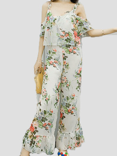 Off The Shoulder Printed Woman Jumpsuit