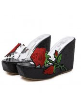 Rose Embroidery Platform Wedge Flip Flops