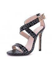 Elegant Solid Cross Belt Stiletto Female Sandals