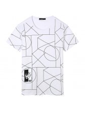 Simple Style All Match Geo Prints Cotton T-shirt