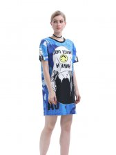 Casual Style O Neck Prints T-Shirt Dress