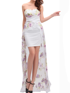 Sexy Floral Prints Floor Length Cocktail Dress