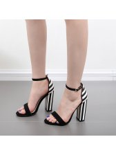 Classic Striped One-buckle Belt Chunky Sandals
