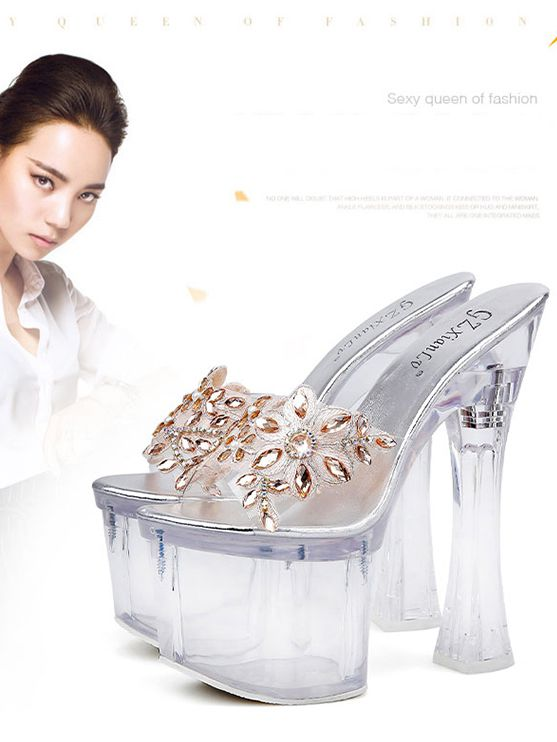 Unique Transparent Superhigh Crystal Slipper
