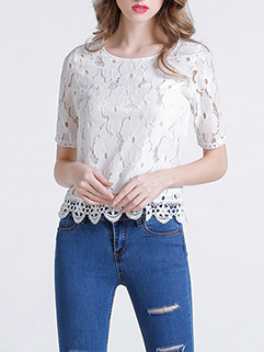 Lace Detail Easy Match Breathable Hollow Out Women Blouses