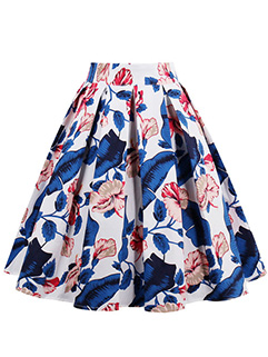 Unique Flowers Print A Line Pleated Flare Skirt