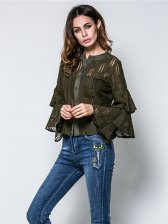 Tiered Ruffles Lace Ladies Blouse Design