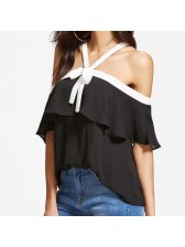 Sexy Bow Tie Off Shoulder Halter Shirt