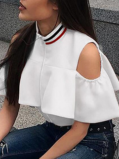 Casual Solid Ruffles Crop Top Blouses