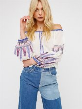 Bohemian Style Embroidered Off Shoulder Blouse