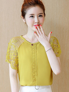 Stylish Ladies Lace Patch Chiffon Blouse Design