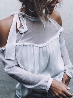 Off The Shoulder Perspective White Blouse Design