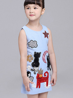 Fashion Cartoon Cat Patch Sleeveless Dress 3-4days Delivery