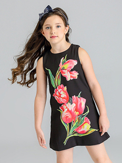 Summer Sleeveless Printed Round Neck Girl Dress ( 3-4 Days Delivery )