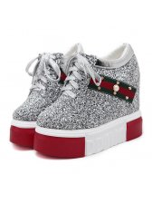 Casual Sporty Sequined Rivet Lace-Up Platforms
