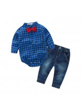 Plaid Onesie With Elastic Jeans Baby Boys Outfits