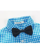 Euro Plaid Shirt With Overalls Baby Boys Suit(3-4 Days Delivery)