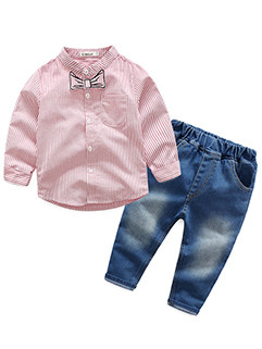 Baby Boys Outfits Striped Shirt With Elastic Jeans (3-4 Days Delivery)