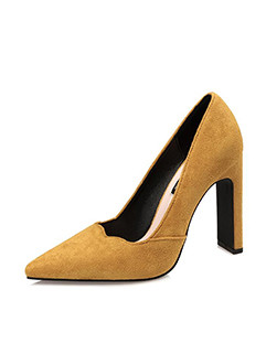 OL Scallop Edge Pointed Chunky Suede Pumps