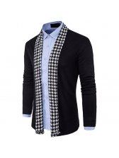 Fashion Personality Houndstooth Men Cardigan Sweater