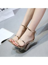 Trendy Thin Straps Transparent Chunky Sandals