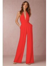 Backless Deep V Neck Sexy Halter Jumpsuits