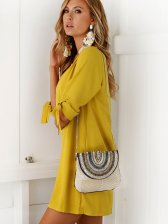 New Fashion Bow Yellow Shift Dresses