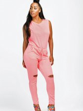 Drawstring Hollow Out Sleeveless Jumpsuits