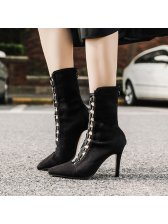 Criss Cross Hollow Out Suede Stiletto Boots