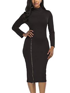 Cheap High Neck Zipper Long Sleeve Pencil Dress