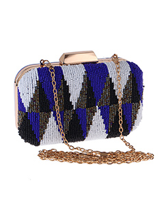 High End Contrast Color Beading Evening Bag