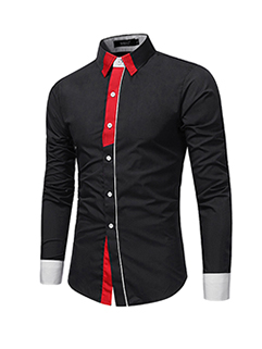Casual Contrast Color Lapel Single Breasted Shirt