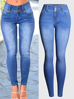 Hot Selling High Waist Solid Fitted Jeans