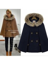 Vintage Style Fur Collar Double Breasted Cloak