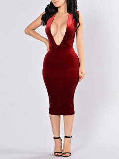 Deep V-Neck Solid Wrap Sexy Backless Dresses
