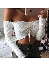 Hot Selling Bow Long Sleeve Wrap Cropped Top
