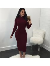 Euro Long Sleeve Tie-wrap Pencil Dress