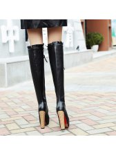 Lace Up Chunky High Heel Suede Thigh High Boots