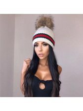 Hot Selling Furred Ball Stripe Knitted Hat