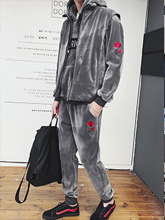 Casual Hooded Loose Thick Cashmere 3Pcs Hoodies Activewear