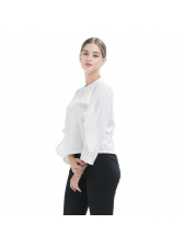 All Match Solid Flounce Long Sleeve Blouse Design