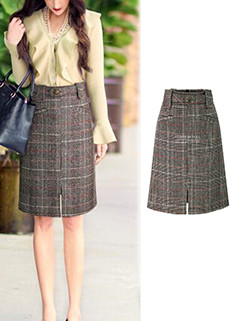 Hot Selling Plaid Half Length A Line Skirt