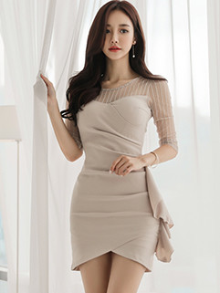 Graceful Gauze Patchwork Flounced Wrap Draped Dress